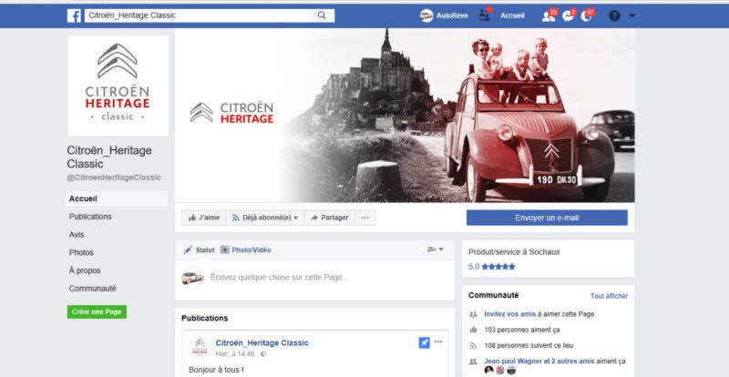Page Facebook Citroën HERITAGE classic